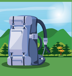 bag of camping with landscape vector image
