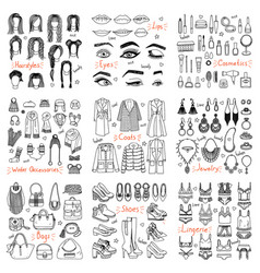 big set of hand drawn fashion clothes and vector image