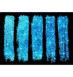 Blue glitter brush strokes set isolated at black vector image