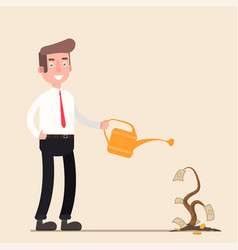 Businessman is watering a tree of money increase vector