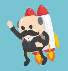 businessman showing confidence flying on a rocket vector image