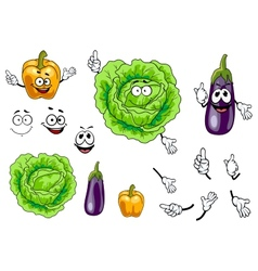 Cabbage pepper and eggplant vegetables vector image