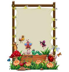 Canvas wooden frame template with animal garden vector