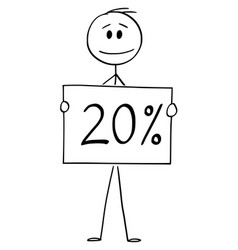 Cartoon man or businessman holding 20 or vector