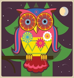 cartoon owl night meditation vector image