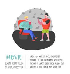 Cartoon people with soda watching movie vector