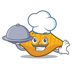 chef with food conchiglie pasta mascot cartoon vector image