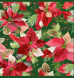 Christmas poinsettia flowers seamless background vector