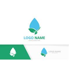 clean water logo combination eco drop logotype vector image