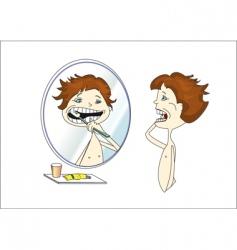 Cleaning teeth vector