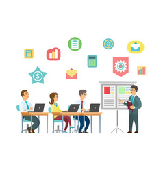 Coach and students with laptops business training vector