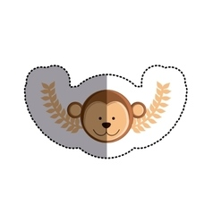 Color sticker with monkey head and olive branchs vector