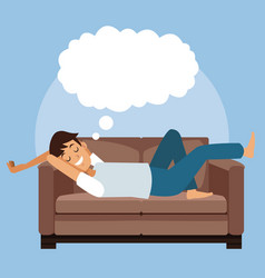 colorful scene man sleep with in sofa with cloud vector image