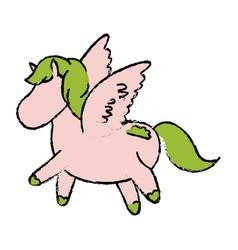 Cute and beautiful pegasus horse fantasy vector