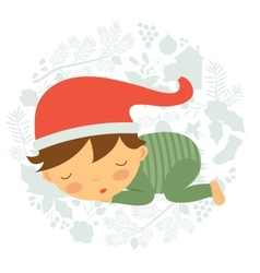 Cute baby boy sleeping vector