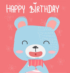 cute bear holding a gift box for birthday card vector image