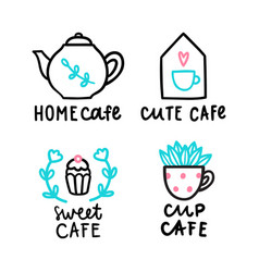 cute cafe logotype vector image