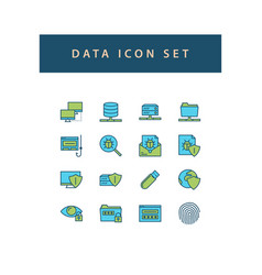 data sharing icon set with filled outline style vector image