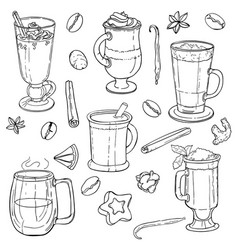 different types of coffee in cups vector image