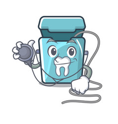 doctor dental floss isolated with character vector image