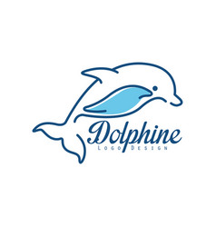 dolphine logo design abstract emblem with jumping vector image