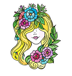 doodle a girl s face hidden hair and flowers vector image