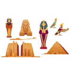 Egypt landmarks and ancient egyptian deities set vector