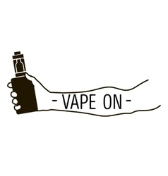 Emblem of an electronic cigarette in hand vector