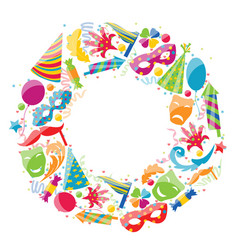 Festive round frame for carnival party circus vector