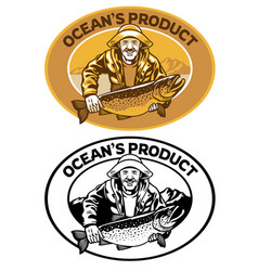 Fisherman badge design with big trout fish vector