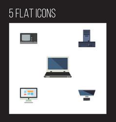 Flat icon computer set of processor display vector