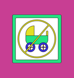 Flat icon design collection strollers not allowed vector