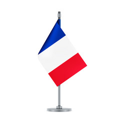 French flag hanging on the metallic pole vector