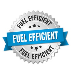 Fuel efficient 3d silver badge with blue ribbon vector