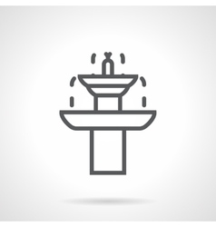 Garden fountain black line icon vector image