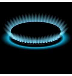 Gas burners blue flame background vector image