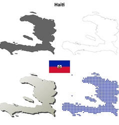 Haiti outline map set vector