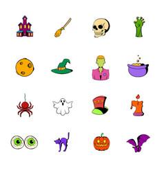 halloween icons set cartoon vector image