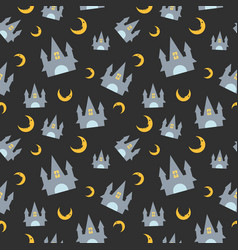 halloween seamless pattern with cute castle and vector image
