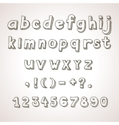 Hand drawn font retro alphabet lowercase and vector image