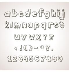 Hand drawn font retro alphabet lowercase vector