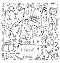 Hand drawn Man Objects Set vector