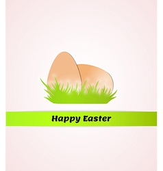 happy easter with eggs in grass vector image