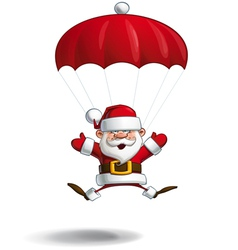 Happy Santa Parachute Open Hands vector