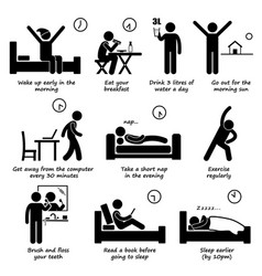Healthy lifestyles daily routine tips stick vector