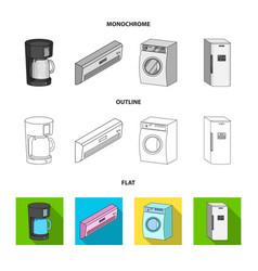 Home appliances and equipment flatoutline vector
