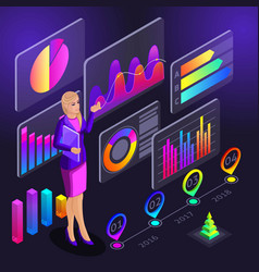 infographics isometrics the girl conducts trainin vector image