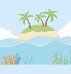 Island beach palms reef coral under sea vector