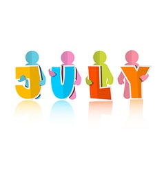 July Colorful Paper Cut Title and Men vector image