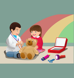 kids playing doctor vector image